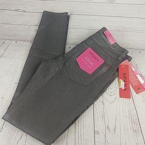 New Spanx Slim -X Skinny Wax pewter jeans 26
